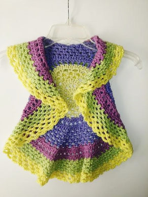 Girls Ring Around The Rosie Vest Size 2T-3T Macroon Yellow Greens Circle Vest