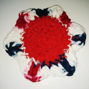 "Flower Kitchen Durable Dish  Pot Scrubbies 4"" x 4"" Red White Navy Faded Glory"