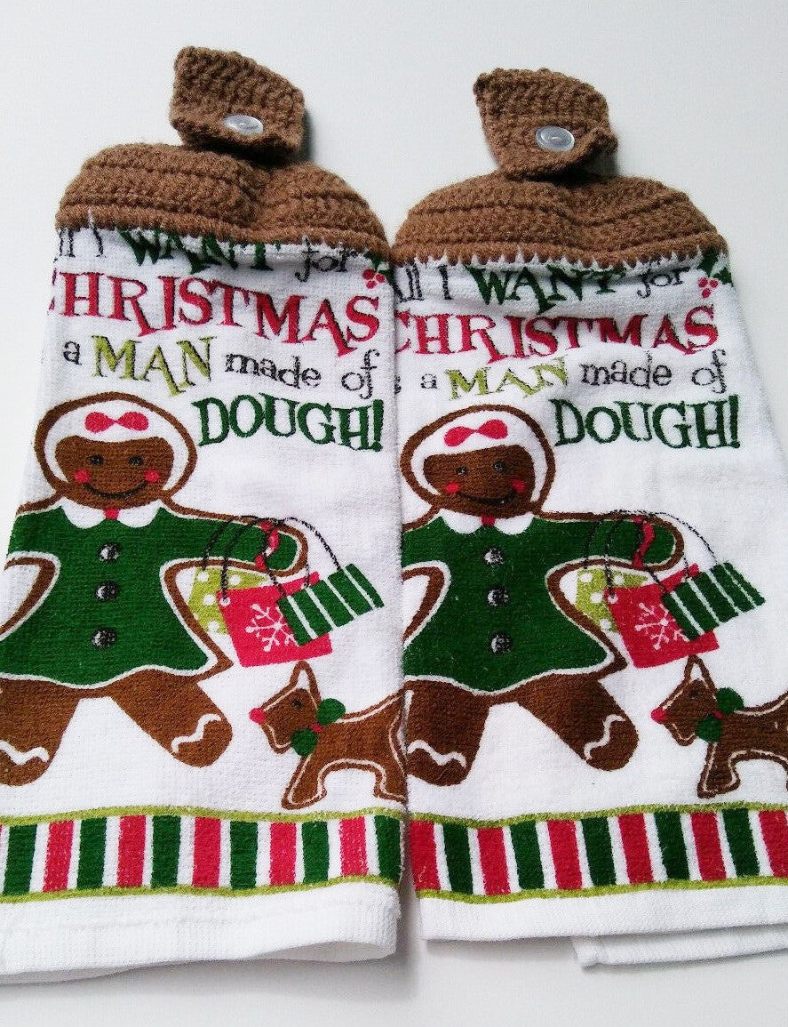Gingerbread Woman Man Made Out Of Dough Christmas Hanging Kitchen Towel Set