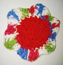 "Load image into Gallery viewer, Flower Kitchen Durable Dish Pot Scrubbies 4"" x 4""  Green Red Blue White"