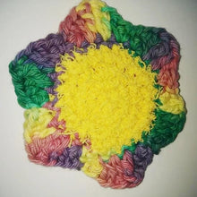 "Load image into Gallery viewer, Flower Kitchen Durable Dish Pot Scrubbies 4"" x 4"" Yellow Rose Teal Green Dark Purple"
