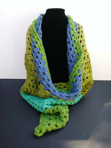 Triangle Scarf Shawl Green Blue Teal Blueberry Kiwi Women's Accessories