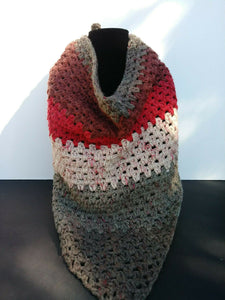 Triangle Scarf Shawl Red Velvet Red Gray Women's Winter Accessories