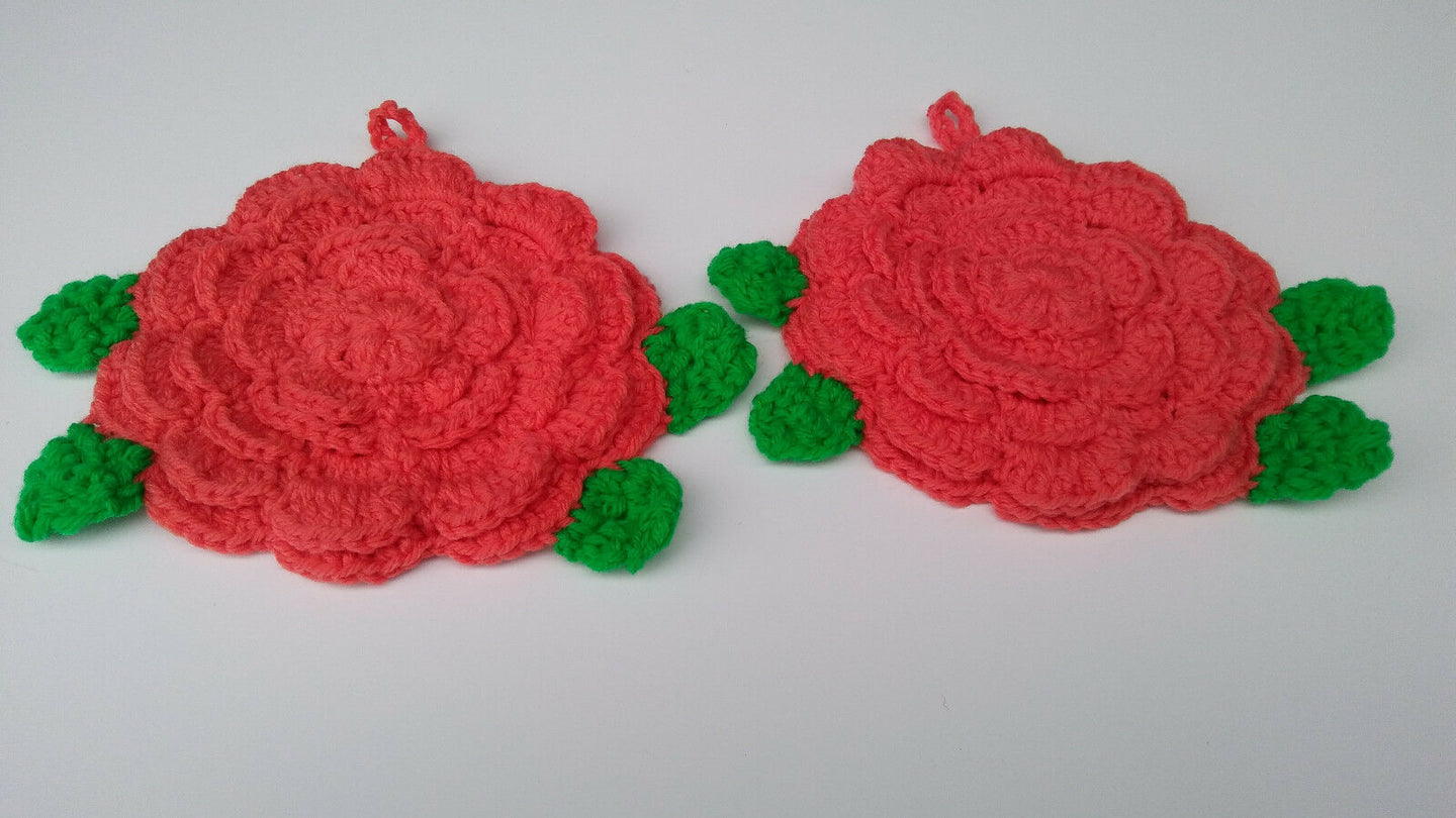 Rose Coral Flower Hot Pad Potholder Set