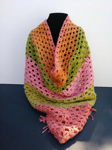 Triangle Scarf Shawl Lime Green Pink Strawberry Kiwi Women's Accessories
