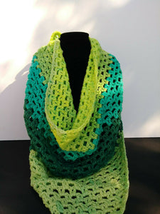 Triangle Scarf Shawl Teals Greens Lemon Lime Women's Accessories