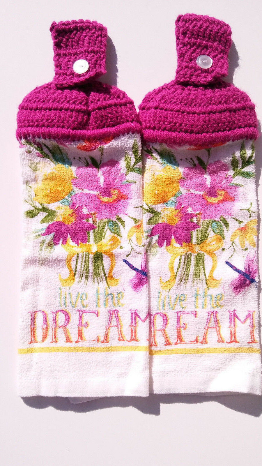 Live The Dream Floral Hanging Kitchen Towel Set