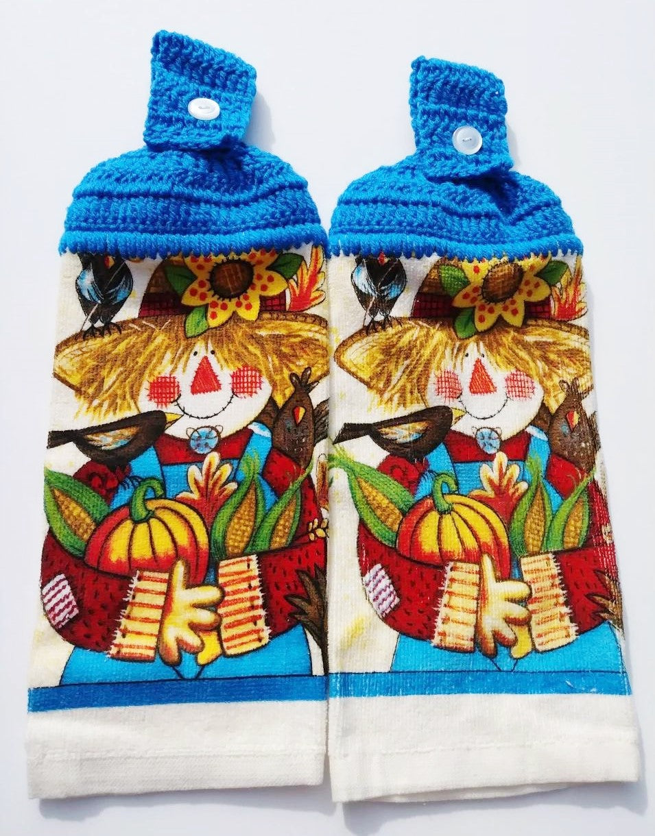 Fall Autumn Harvest Scarecrow Hanging Kitchen Towel Set