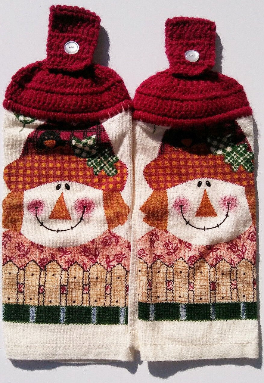 Autumn Folk Art Scarecrow Hanging Kitchen Towel Set