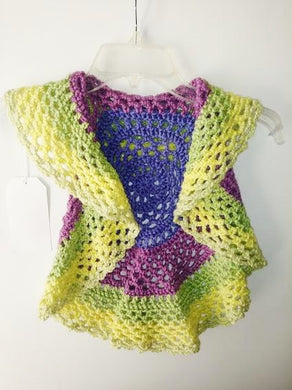 Girls Ring Around The Rosie Vest Size 4T Macroon Yellow Greens Circle Vest