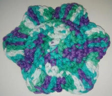 "Load image into Gallery viewer, Flower Kitchen Durable Dish  Pot Scrubbies 4"" x 4"" White Teal Lavender"