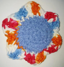 "Load image into Gallery viewer, Flower Kitchen Durable Dish Pot Scrubbies 4"" x 4"" Orange Blue Red White"