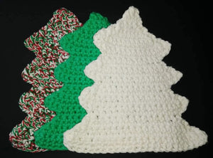 Christmas Tree Shaped Dishcloths Washcloths Dishrags Washrags Set of 3 Cotton