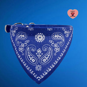 Adjustable Small Dog or Cat Bandanna Collar -Blue