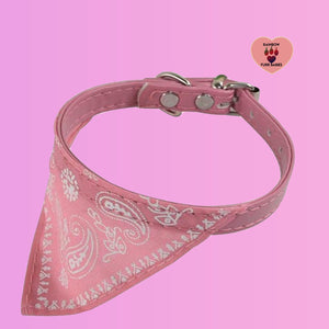 Adjustable Small Dog or Cat Bandanna Collar -Pink