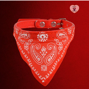 Adjustable Small Dog or Cat Bandanna Collar - Red