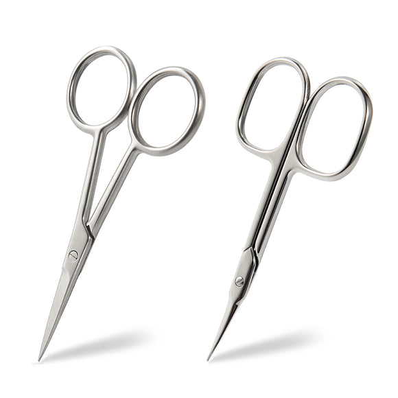 BEZOX Facial Hair Trimming Scissors and Hangnails/Cuticle Scissors Set - Multi-functional Scissors for Beard/Moustache, Nose Hair, Ear Hair, Eyebrow and Eyelashes - W/Tin Storage Box
