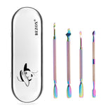 BEZOX Cuticle Pusher Kit - Dual End Nail Gel Polish Removal Pushers - Rainbow Color Stainless Steel Manicure Tools