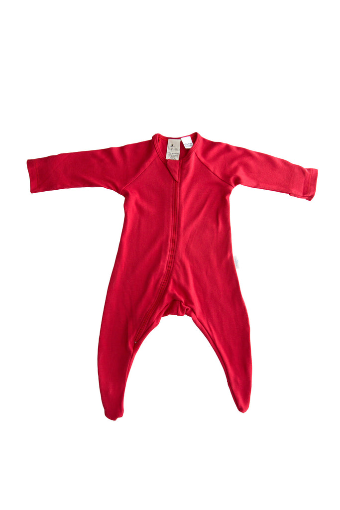 100% Certified Organic Cotton Growsuit - Red