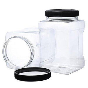 -32 Oz Large Clear Empty Plastic Storage Jars With Lids - Square Food Grade Container With Easy Grip Handles - Multi Purpose Jar Bpa Free