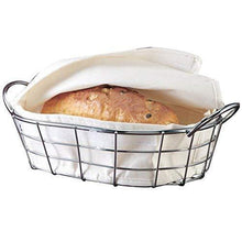 Load image into Gallery viewer, Best oval metal wire bread box fruit basket for baguette sourdough food pantry basket kitchen storage and counter display restaurant quality metal basket with linen material insert