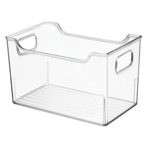 Shop here mdesign plastic kitchen pantry cabinet refrigerator or freezer food storage bins with handles organizer for fruit yogurt snacks pasta bpa free 10 long 4 pack clear