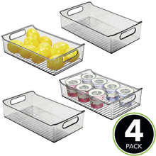 Load image into Gallery viewer, Explore mdesign wide plastic kitchen pantry cabinet refrigerator or freezer food storage bin with handles organizer for fruit yogurt snacks pasta bpa free 14 long 4 pack smoke gray