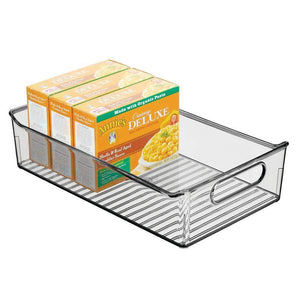Discover mdesign wide plastic kitchen pantry cabinet refrigerator or freezer food storage bin with handles organizer for fruit yogurt snacks pasta bpa free 14 long 4 pack smoke gray