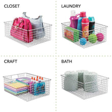 Load image into Gallery viewer, New mdesign farmhouse decor metal wire food organizer storage bin baskets with handles for kitchen cabinets pantry bathroom laundry room closets garage 4 pack chrome