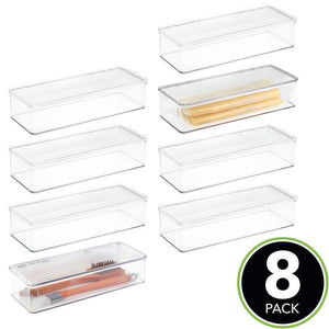 Best mdesign stackable kitchen pantry cabinet refrigerator food storage container bin attached lid organizer for packets snacks produce pasta bpa free food safe 8 pack clear