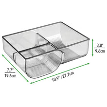 Load image into Gallery viewer, Results mdesign food storage container lid holder 3 compartment plastic organizer bin for organization in kitchen cabinets cupboards pantry shelves 2 pack smoke gray