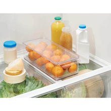 Load image into Gallery viewer, Discover the mdesign plastic food storage container bin with lid and handle for kitchen pantry cabinet fridge freezer organizer for snacks produce vegetables pasta 8 pack clear