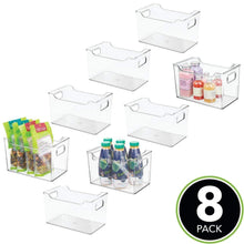 Load image into Gallery viewer, On amazon mdesign plastic kitchen pantry cabinet refrigerator or freezer food storage bin with handles organizer for fruit yogurt snacks pasta bpa free 10 long 8 pack clear