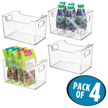Load image into Gallery viewer, Shop for mdesign plastic kitchen pantry cabinet refrigerator or freezer food storage bins with handles organizer for fruit yogurt snacks pasta bpa free 10 long 4 pack clear