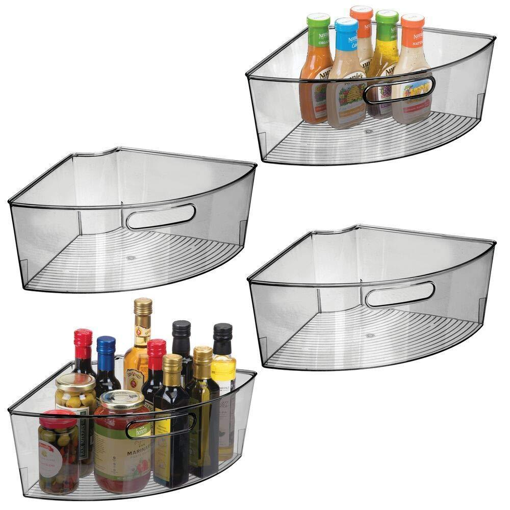 Purchase mdesign kitchen cabinet plastic lazy susan storage organizer bins with front handle large pie shaped 1 4 wedge 6 deep container food safe bpa free 4 pack smoke gray