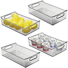 Load image into Gallery viewer, Cheap mdesign wide plastic kitchen pantry cabinet refrigerator or freezer food storage bin with handles organizer for fruit yogurt snacks pasta bpa free 14 long 4 pack smoke gray