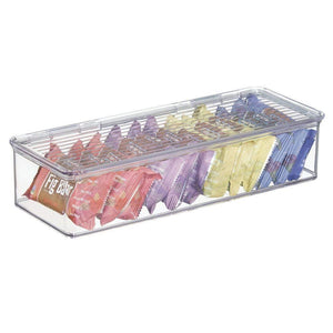 Top rated mdesign stackable kitchen pantry cabinet refrigerator food storage container bin attached lid organizer for packets snacks produce pasta bpa free food safe 8 pack clear