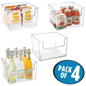 Shop mdesign plastic open front food storage bin for kitchen cabinet pantry shelf fridge freezer organizer for fruit potatoes onions drinks snacks pasta 12 wide 4 pack clear