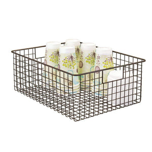 Buy mdesign farmhouse decor metal wire food organizer storage bin baskets with handles for kitchen cabinets pantry bathroom laundry room closets garage 2 pack bronze