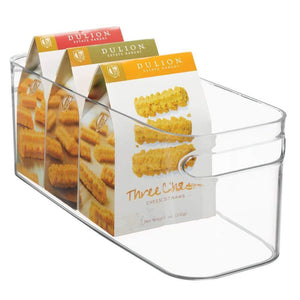 Purchase mdesign plastic kitchen under sink refrigerator or freezer food storage bin with handles organizer for fruit yogurt snacks pasta food safe bpa free 4 pack clear