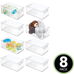 The best mdesign deep storage organizer container for kids child supplies in kitchen pantry nursery bedroom playroom holds snacks bottles baby food diapers wipes toys 14 5 long 8 pack clear