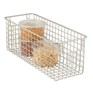 Online shopping mdesign farmhouse decor metal wire food storage organizer bin basket with handles for kitchen cabinets pantry bathroom laundry room closets garage 16 x 6 x 6 4 pack satin