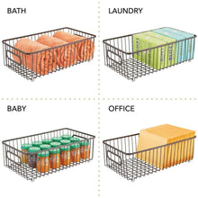 Load image into Gallery viewer, Amazon mdesign metal farmhouse kitchen pantry food storage organizer basket bin wire grid design for cabinets cupboards shelves countertops holds potatoes onions fruit large 4 pack bronze