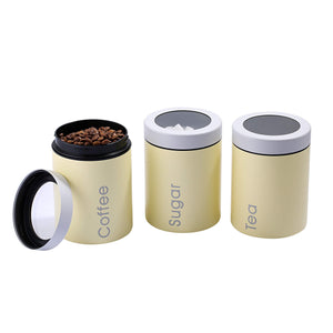 Latest adzukio modern stylish canisters sets for kitchen counter 3 piece canister for tea sugar coffee food storage container multipurpose light yellow