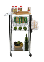Load image into Gallery viewer, Organize with mind reader glass top mobile kitchen cart with wine bottle holder wine rack towel holder perfect kitchen island for cooking utensils kitchen appliances and food storage silver