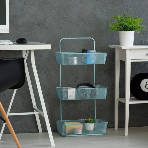 NEX Over the Door Basket Organizer, 3-Tier Mesh Basket Hanging Storage Unit Over Door Pantry Rack Organizer (Aqua Blue)