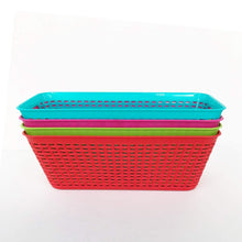 Load image into Gallery viewer, Amazon small colorful plastic baskets rectangle tray pantry organization and storage kitchen cabinet spice rack food shelf organizer organizing for desks drawers weave deep closets lockers