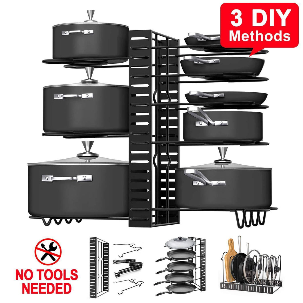 Pot Rack Organizers, G-TING 8 Tiers Pots and Pans Organizer, Adjustable Pot Lid Holders & Pan Rack for Kitchen Counter and Cabinet, Lid Organizer for Pots and Pans With 3 DIY Methods(2019 Upgraded)