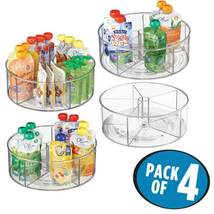Heavy duty mdesign divided lazy susan turntable storage container for kitchen cabinet pantry refrigerator countertop bpa free food safe spinning organizer for kids toddlers 5 sections 4 pack clear