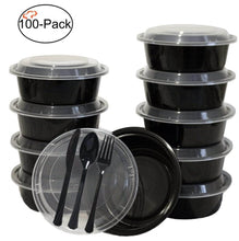 Load image into Gallery viewer, Selection tiger chef round meal prep plastic bowl portion control bento box food containers with leakproof lids microwave freezer safe reusable bpa free 32 ounce 100 pack 100 sets of utensils included